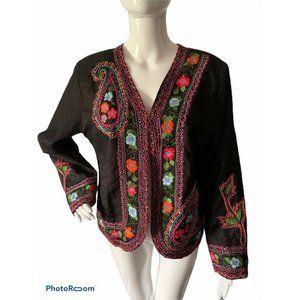 Womens Floral JacketL Embroidered Blazer